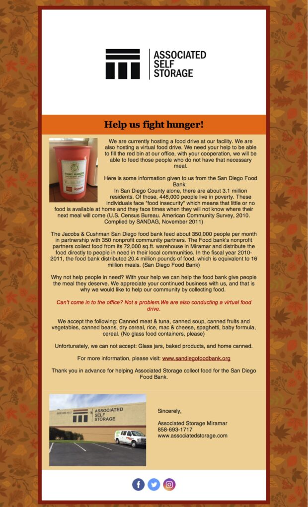 FOOD DRIVE – Help us fight hunger! – Associated Self Storage